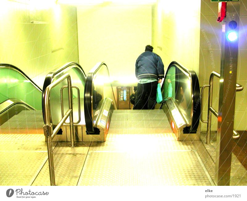free ride Escalator Man Light Transport Human being Contrast Lighting Stairs