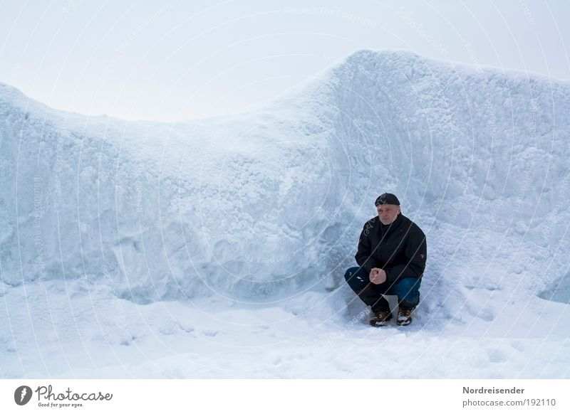 Man kneels in an ice desert at the Baltic Sea Lifestyle Well-being Vacation & Travel Tourism Adventure Freedom Ocean Winter Snow Winter vacation Hiking Adults 1