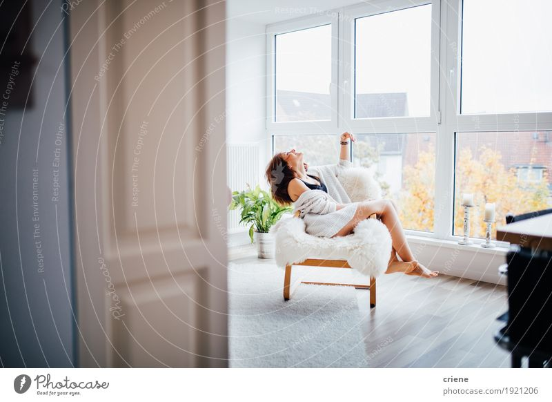 Young caucasian women enjoying herself at home Woman Youth (Young adults) Young woman Relaxation Joy 18 - 30 years Adults Interior design Lifestyle Feminine