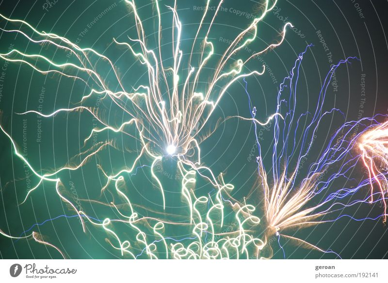 Fw Work of art Fire Air Night sky Touch Illuminate Brash Bright Blue Yellow Green Violet White Life Aggression Colour photo Exterior shot Experimental Deserted