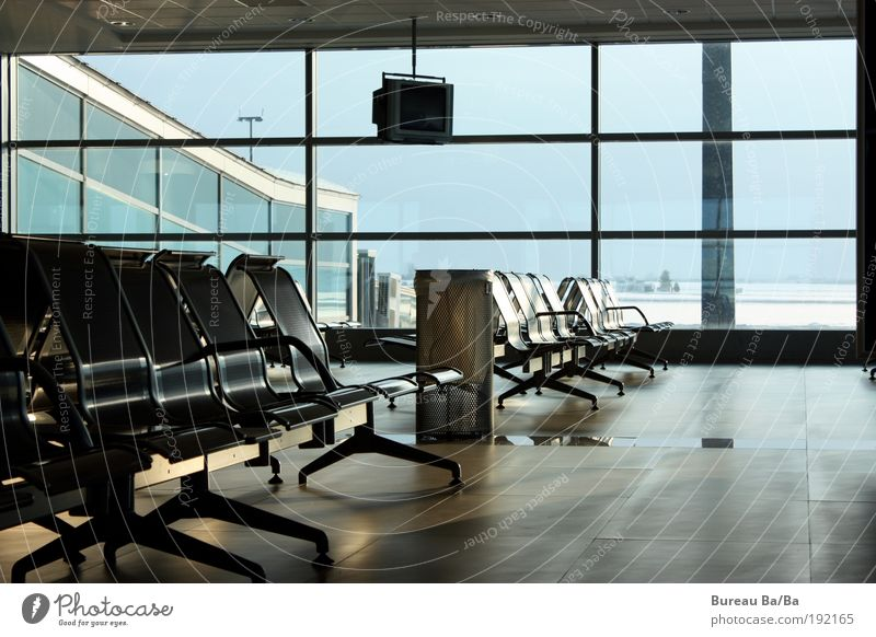 Airport love vs. Lufthansa strike Window Aviation Airplane Passenger plane Aircraft Airfield Chair Vacation & Travel Wanderlust Blue Empty Wait Boredom