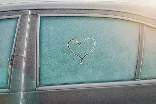Cold heart Car Frost Heart Window pane Ice Winter Love Scratch Snow Transport Car door