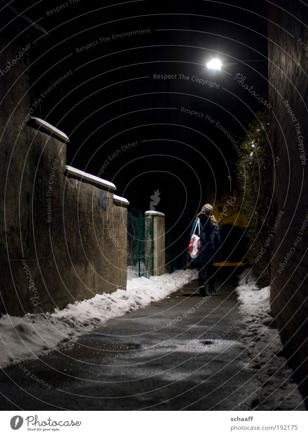 Human being Winter Far-off places Snow Lanes & trails Fear Going Wait Walking Illuminate Stand Transience Discover Tunnel Watchfulness Freeze