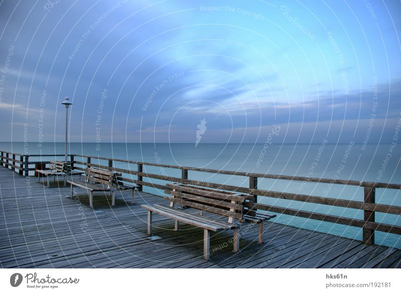 Nature Blue Beautiful Summer Ocean Relaxation Landscape Calm Far-off places Coast Freedom Contentment Bench Peace Baltic Sea Footbridge
