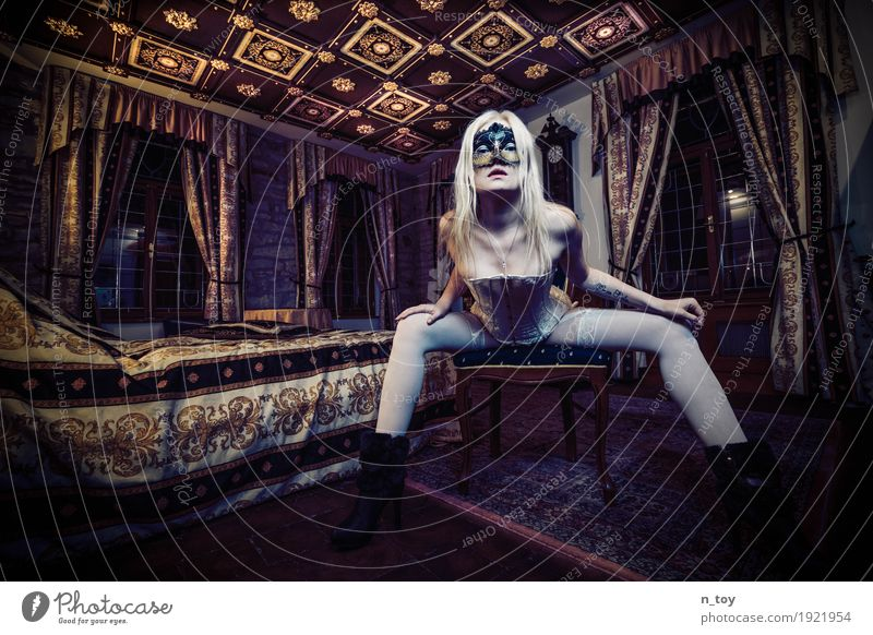 eyes wide shut Beautiful Feminine Young woman Youth (Young adults) Body 1 Human being 18 - 30 years Adults Castle Stockings Underwear Tattoo Mask High heels