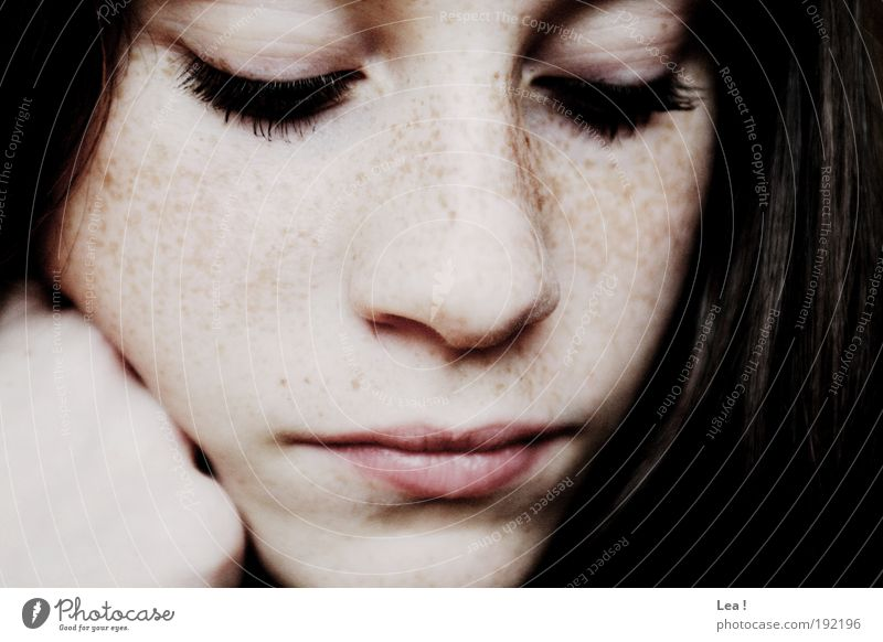 first think, then think Feminine Youth (Young adults) Face 1 Human being Think Looking Dream Calm To enjoy Eyelash Brunette Freckles Meditative Colour photo