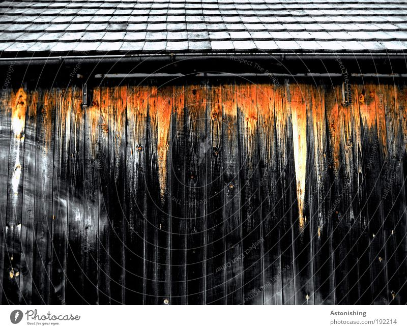 House (Residential Structure) Black Yellow Wall (building) Above Wood Wall (barrier) Building Line Architecture Gloomy Roof Threat Brick Agriculture Hut