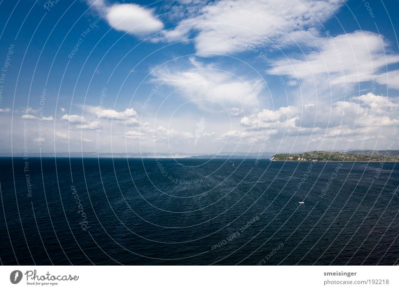 ocean Vacation & Travel Tourism Trip Summer vacation Ocean Environment Elements Air Water Sky Clouds Wind Waves Coast Mediterranean sea Free Infinity Tall