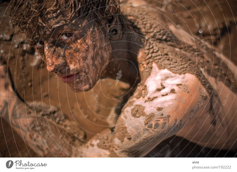 Human being Youth (Young adults) Joy Relaxation Dirty Masculine Lie Uniqueness Wellness Young man Serene Man Brunette Bird's-eye view Self-confident Mud
