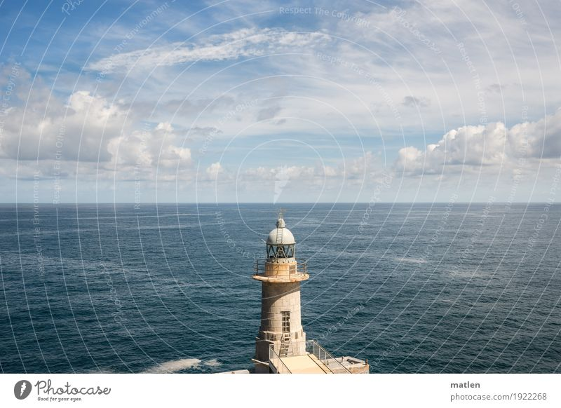 below the horizon Landscape Water Sky Clouds Horizon Weather Beautiful weather Coast Ocean Infinity Blue Brown White Lighthouse Basque Country Under