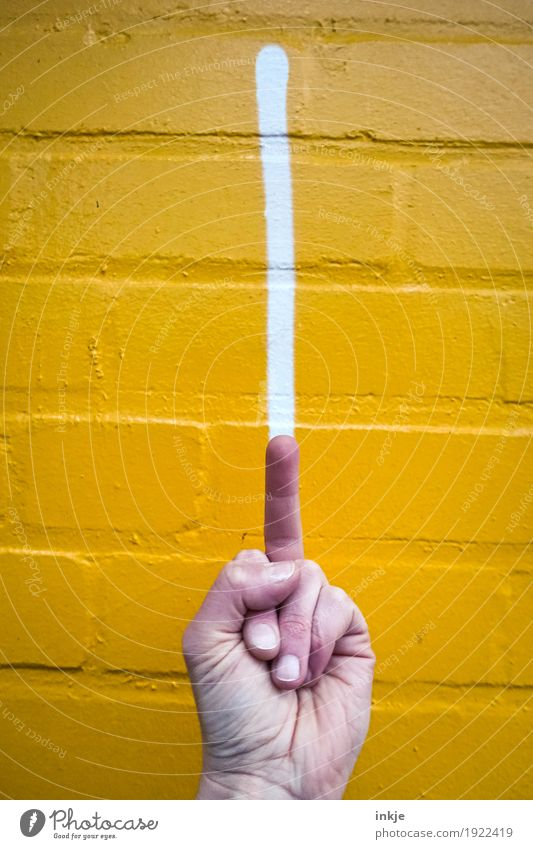 just my two cents Lifestyle Hand Fingers Middle finger 1 Human being Wall (barrier) Wall (building) Facade Sign Graffiti Line Stripe Aggression Anger Yellow