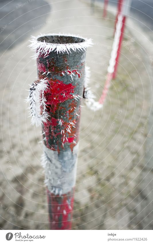 Frost | great climate Winter Climate Ice Deserted Street Lanes & trails Barrier Icicle Cold Frozen Ice crystal Colour photo Exterior shot Close-up Day Light