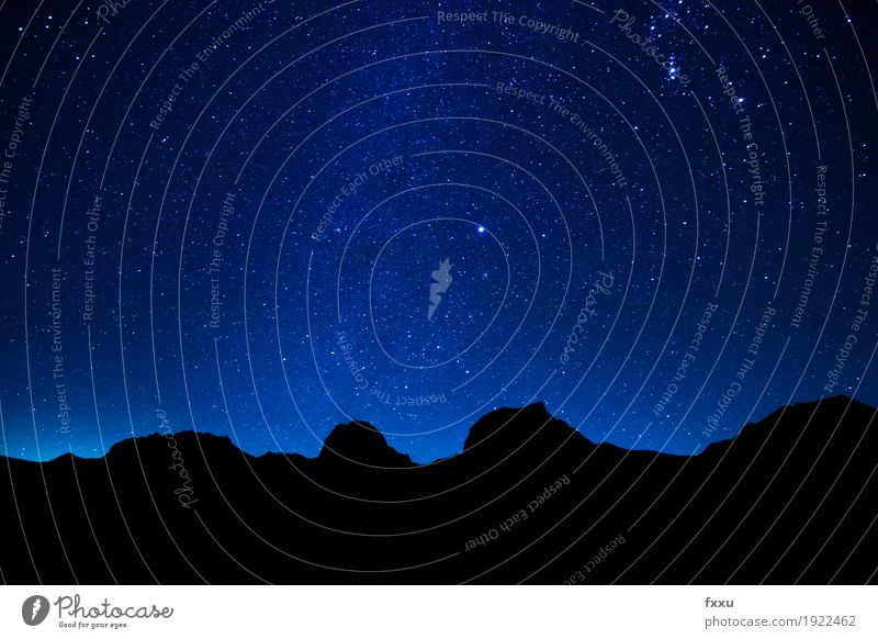 Starry skies and mountains Nature Landscape Sky Cloudless sky Night sky Stars Alps Mountain Peak Earth Universe Colour photo Exterior shot Deserted