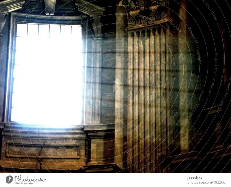 enlightenment Church Dome Castle Window Dark Bright Hope Mysterious Belief Religion and faith Death Lighting Column Grating God Illuminate Respect