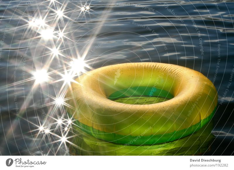 proposal to the summer Vacation & Travel Water Summer Beautiful weather Waves Ocean Lake Yellow Green White Water wings Star (Symbol) Circle Glittering