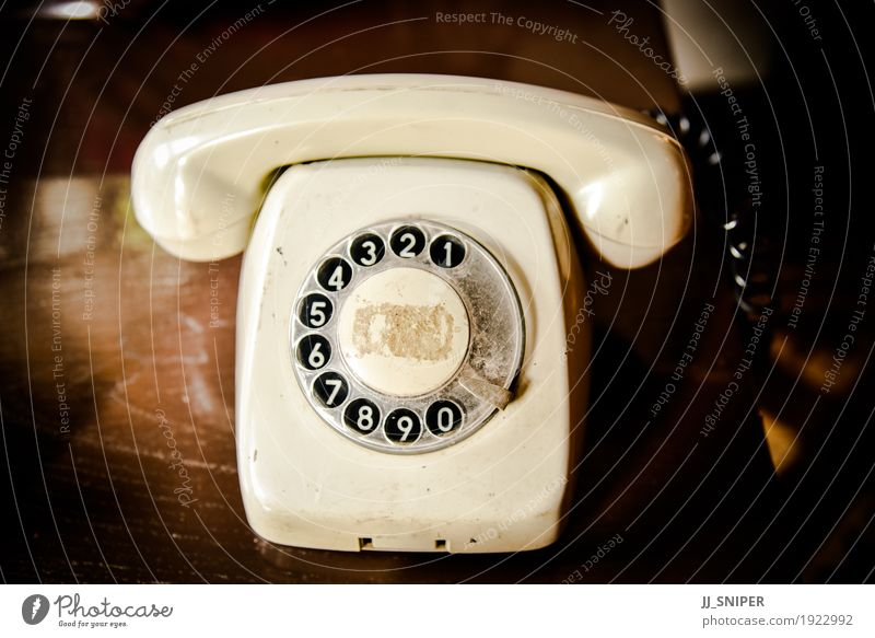 Vintage telephone Old Black To talk Wood Business Lamp Brown Line Office Dirty Retro Communicate Technology Digits and numbers Telephone Symbols and metaphors