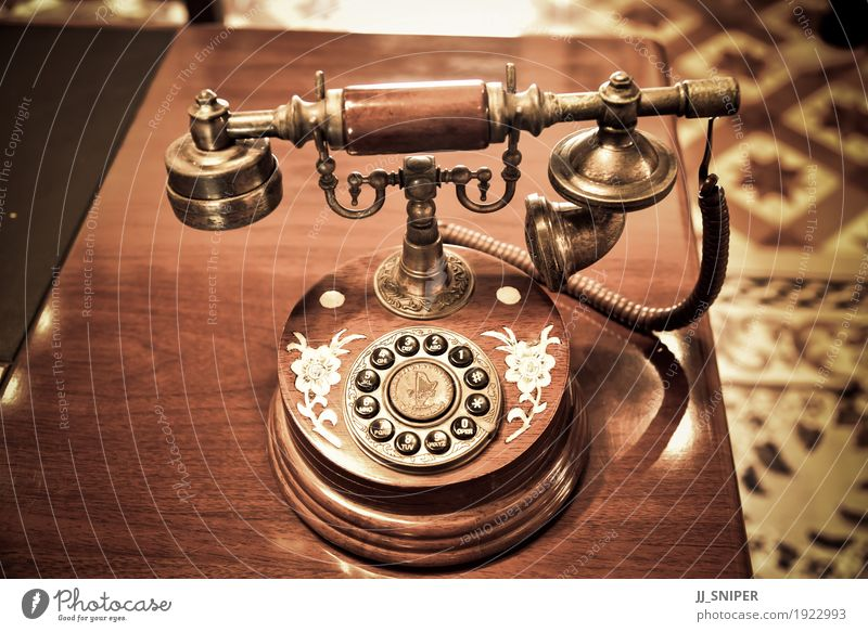 Vintage telephone Table Office Business To talk Telephone Technology Wood Line Old Communicate To call someone (telephone) Dirty Retro Brown Black Contact