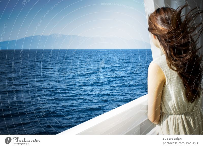 Woman Summer Water Ocean Relaxation Calm Far-off places Adults Freedom Think Hair and hairstyles Horizon Dream Esthetic Back Beginning