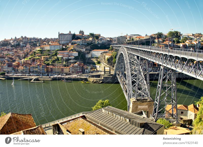 Ponte Luis I Environment Nature Water Sky Horizon Summer Weather Beautiful weather River bank Douro Porto Portugal Town Port City Downtown