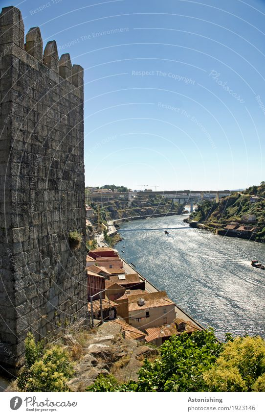 old tower at the Douro Environment Nature Landscape Air Water Sky Horizon Summer Weather Beautiful weather Plant Tree Hill River bank Porto Portugal Town