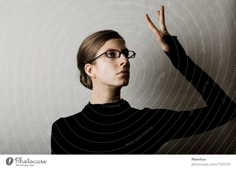 Human being Hand Feminine Gray Gloomy Touch Earnest Gesture Conceited Petit bourgeois Nerdy Demanding Person wearing glasses