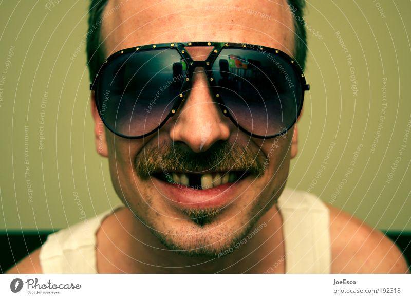 Man Joy Head Emotions Happy Adults Feasts & Celebrations Crazy Happiness Masculine Cool (slang) Retro Set of teeth Illuminate Face Facial hair