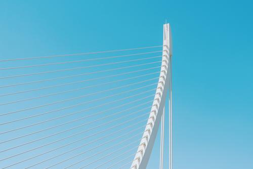 White Abstract Bridge Structure On Sky Design Vacation & Travel Tourism Summer Manmade structures Building Architecture Transport Street Metal Steel Running