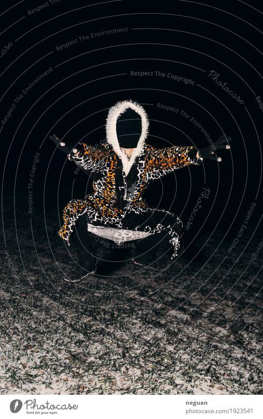 strange dream Style Sports Human being Animal Crazy Fear jumping shaman dark Mystic staged Flying bademantel wilder man tiger fun durchgeknallt gesichtslos