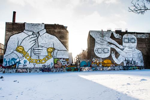 Vacation & Travel Town Landscape Winter Architecture Environment Wall (building) Graffiti Snow Berlin Building Wall (barrier) Art Freedom Tourism City life