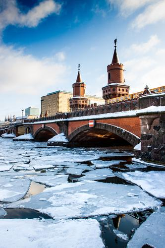 Vacation & Travel Joy Winter Environment Cold Berlin Tourism Transport Trip Ice Beautiful weather Bridge Tower Frost Tourist Attraction Landmark