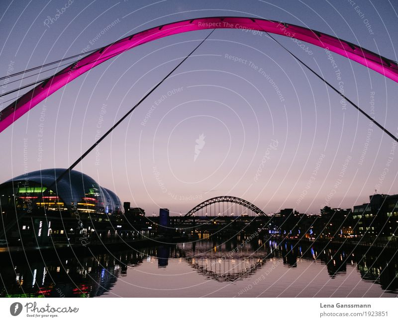 newcastle upon tyne Tourism Sightseeing City trip Cloudless sky Sunrise Sunset River bank England Town Downtown Skyline Bridge Manmade structures Building