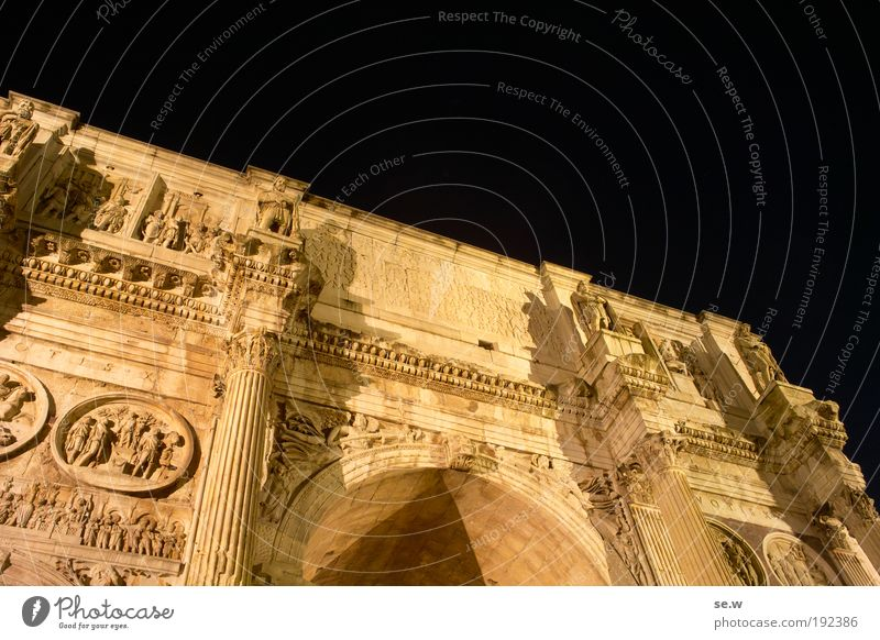 Arco di Costantino Capital city Ruin Landmark Monument Constantine Arch To enjoy Draw Illuminate Dream Old Esthetic Famousness Large Historic Yellow Black Honor