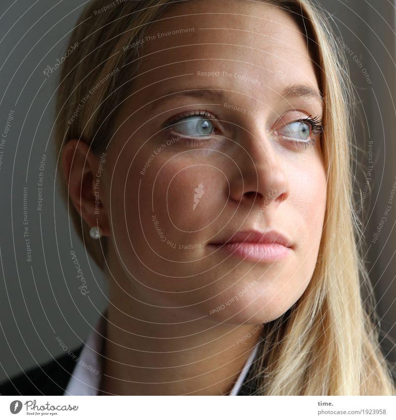 neele Feminine Woman Adults 1 Human being Shirt Jacket Jewellery Earring Blonde Long-haired Observe Think Looking Wait pretty Watchfulness Self Control