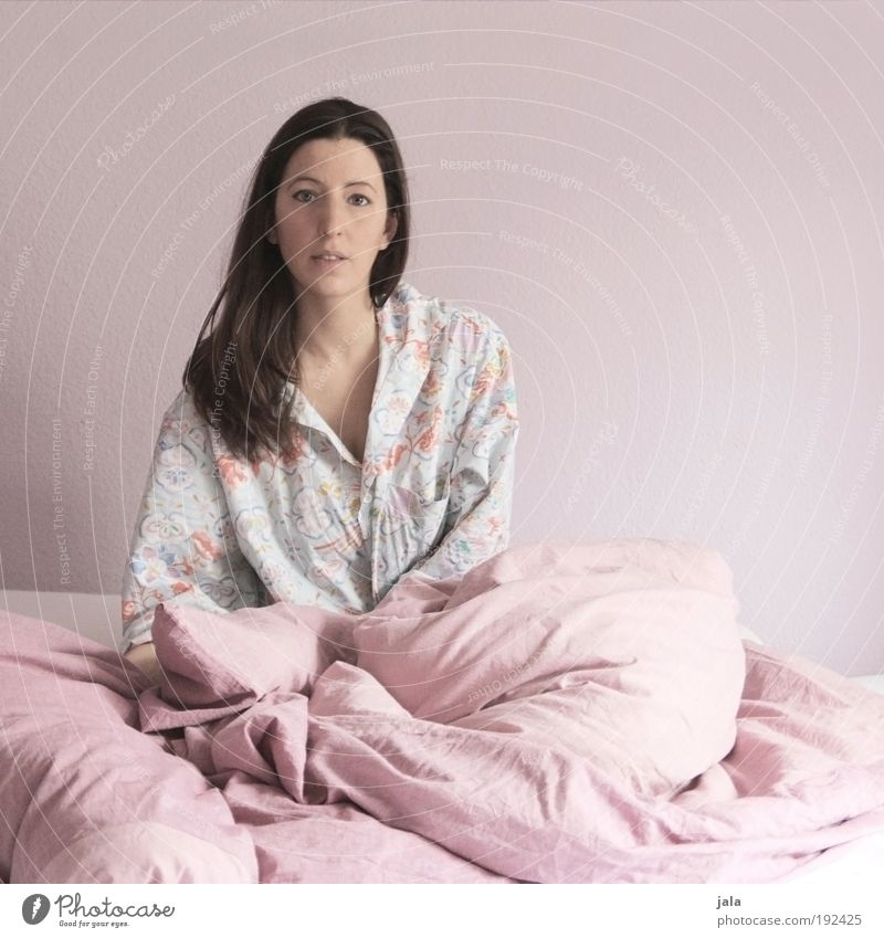 Woman Human being Feminine Head Adults Pink Time Bed Simple Fatigue Shirt Boredom Brunette Long-haired Building Bedroom