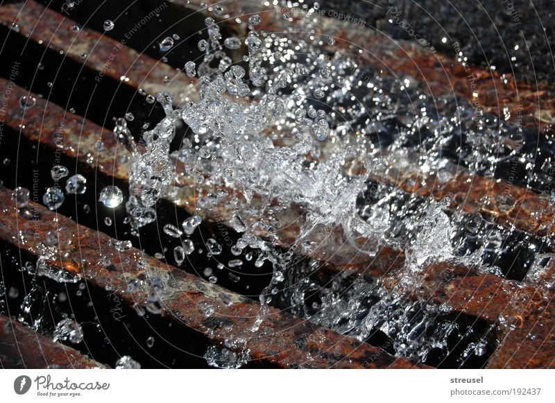 cold clear water Environment Nature Elements Water Drops of water Weather Storm Rain Rust Drainage Gully Fresh Cold Wet Clean Brown Silver Life Purity Movement