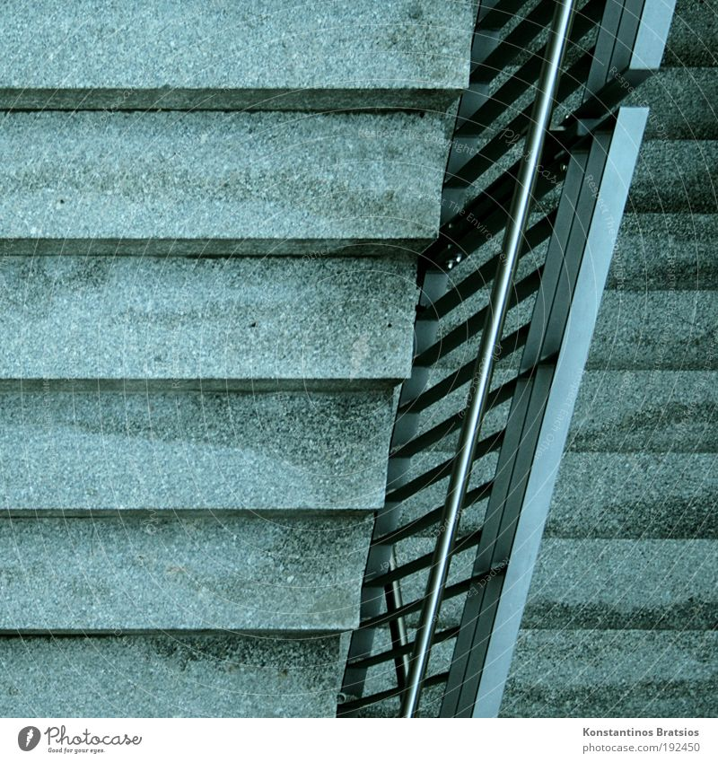 =/= Stairs Handrail Simple Firm Under Movement Perspective Target Hard Concrete Metal Upward Downward Going Walking Lanes & trails To hold on Direct Line Corner