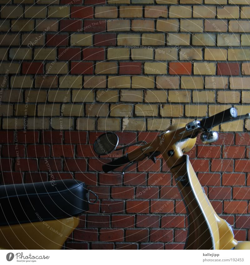 Wall (building) Style Wall (barrier) Road traffic Transport Lifestyle Leisure and hobbies Mirror Brick Motorcycle Parking lot Engines Scooter