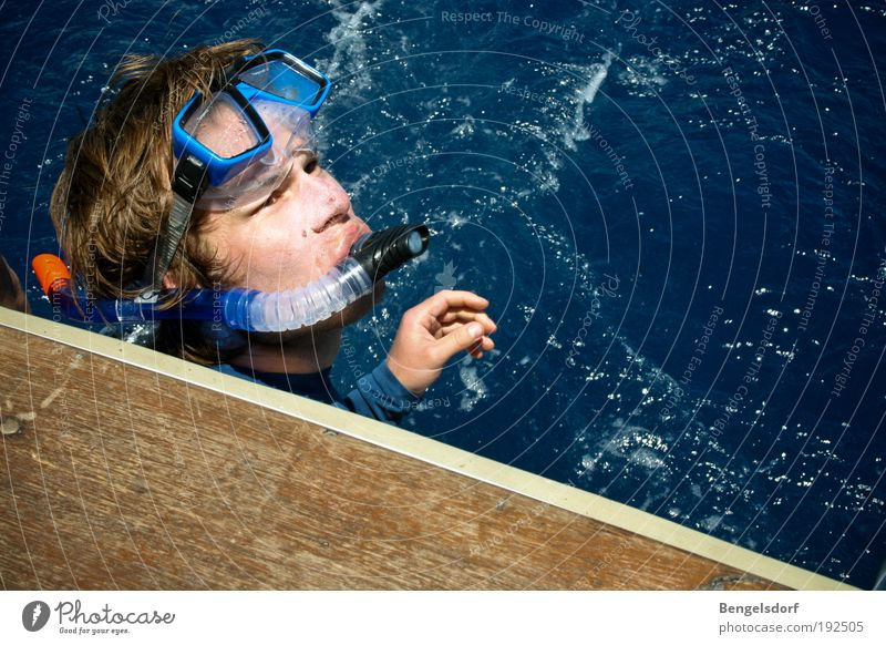 Human being Water Ocean Blue Summer Face Air Waves Wind Masculine Drops of water Fish Leisure and hobbies Dive Breathe