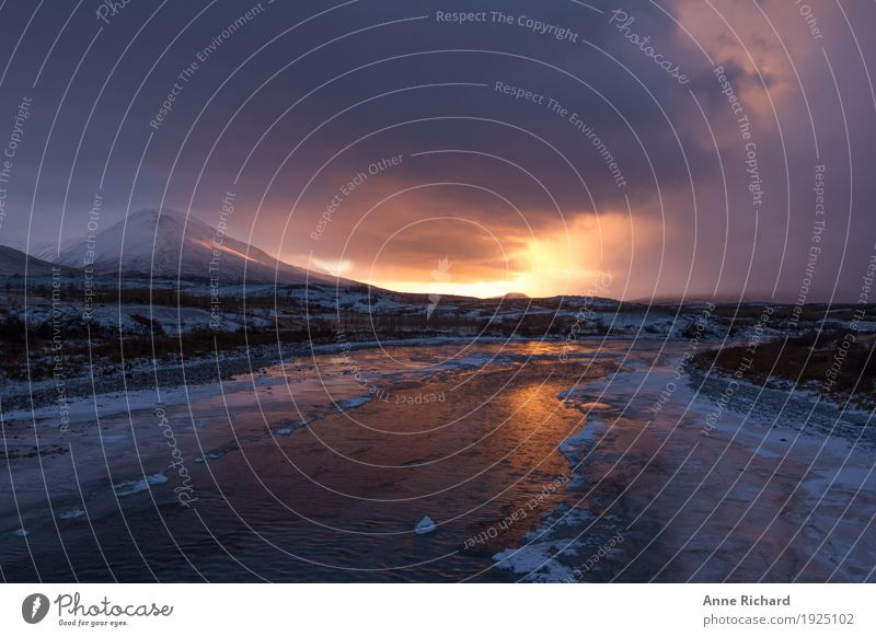 Winter sunrise in Iceland Adventure Far-off places Freedom Winter vacation Mountain Hiking Environment Nature Landscape Plant Animal Elements Earth Water Sky