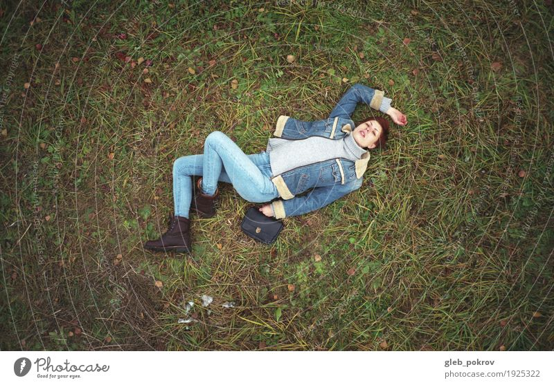 On the grass Lifestyle Shopping Style Beautiful Harmonious Human being Young woman Youth (Young adults) 1 18 - 30 years Adults Nature Earth Spring Bad weather
