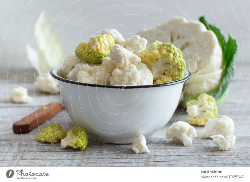 Fresh raw cauliflower in a bowl Green Wood Nutrition Retro Vegetable Bowl Meal Vegetarian diet Diet Vitamin Salad Raw Rustic Ingredients Cooking