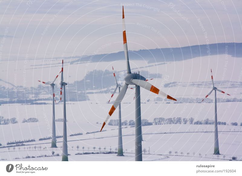 red white Energy industry Renewable energy Wind energy plant Landscape Clouds Winter Climate change Snow Field Hill Movement Rotate Elegant Large Tall Modern