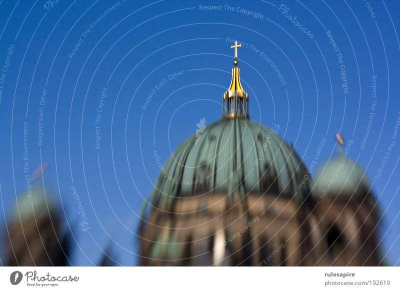 Golden Cross Tourism Sightseeing Church Religion and faith Dome Cloudless sky Berlin Capital city Domed roof Crucifix Roof Tourist Attraction Landmark Monument