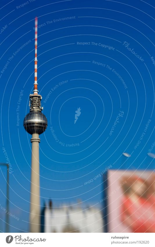 blue Tourism Sightseeing City trip Sky Cloudless sky Berlin Berlin TV Tower Capital city Downtown Antenna Tourist Attraction Landmark Monument Glittering Large