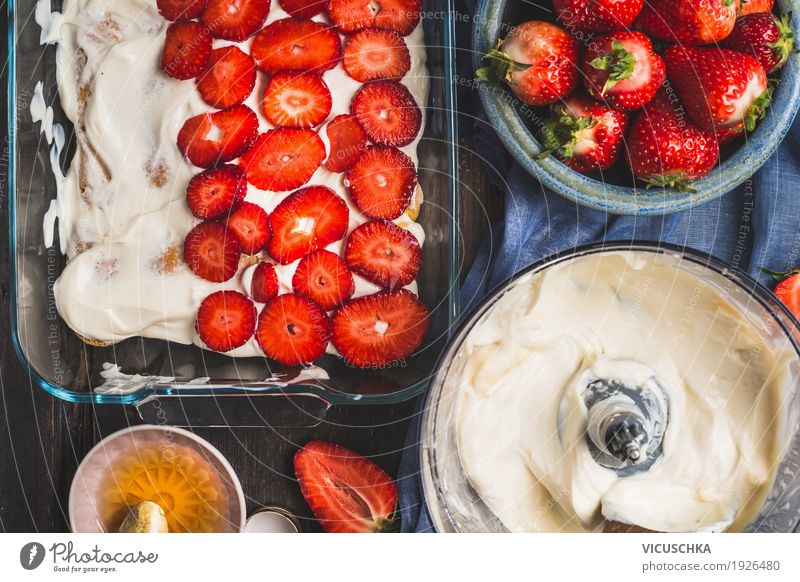 Bowls with sliced berries and cream Food Fruit Cake Dessert Nutrition Style Design Life Living or residing Table Kitchen strawberry Cream Cooking Summer