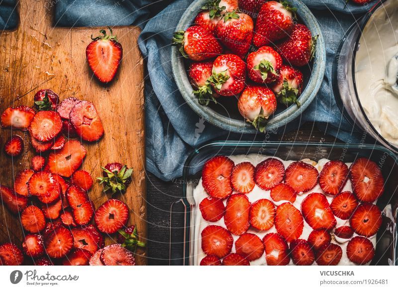 Strawberry cake with sliced berries and cream Food Fruit Cake Dessert Nutrition Organic produce Crockery Bowl Style Design Healthy Healthy Eating Life Table