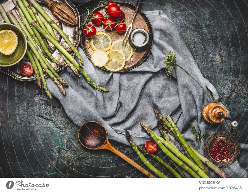 Asparagus with wooden spoon and cooking ingredients Food Vegetable Lettuce Salad Herbs and spices Cooking oil Nutrition Lunch Dinner Organic produce