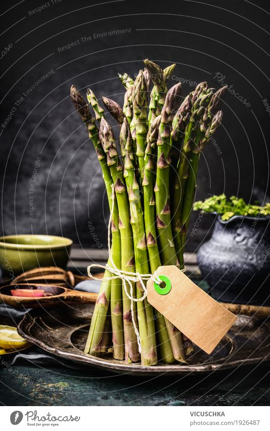 Asparagus yellow collar on the kitchen table Food Vegetable Nutrition Organic produce Diet Style Design Healthy Eating Life Living or residing Table Kitchen