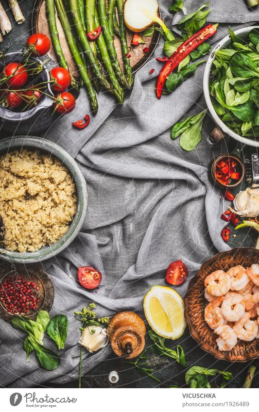Healthy salad with asparagus and cooked quinoa seeds Food Vegetable Lettuce Salad Grain Herbs and spices Cooking oil Nutrition Lunch Dinner Buffet Brunch