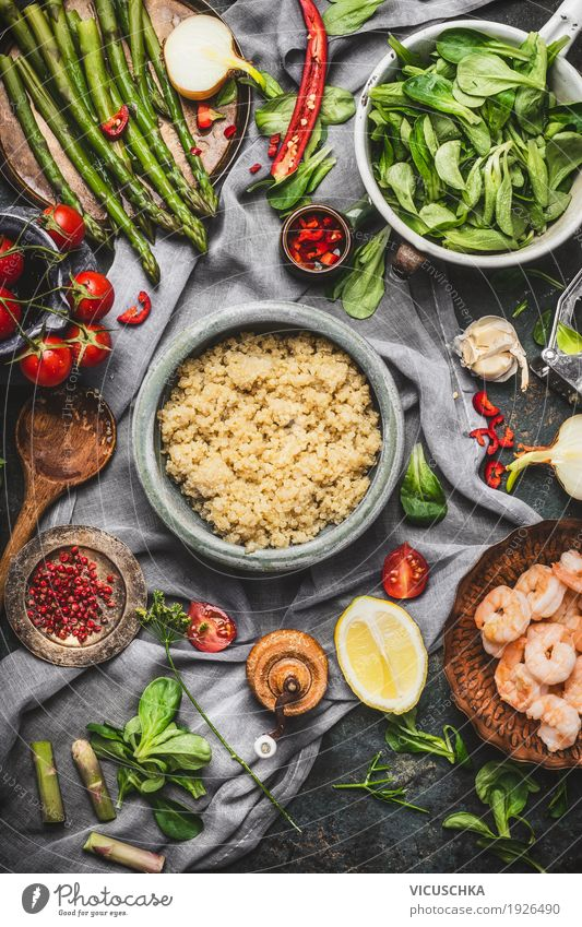Healthy cooking with asparagus and quinoa seeds Seafood Vegetable Grain Herbs and spices Cooking oil Nutrition Lunch Dinner Buffet Brunch Organic produce